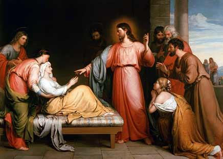 John Bridges Cristo sanando a la madre de Simón Pedro.