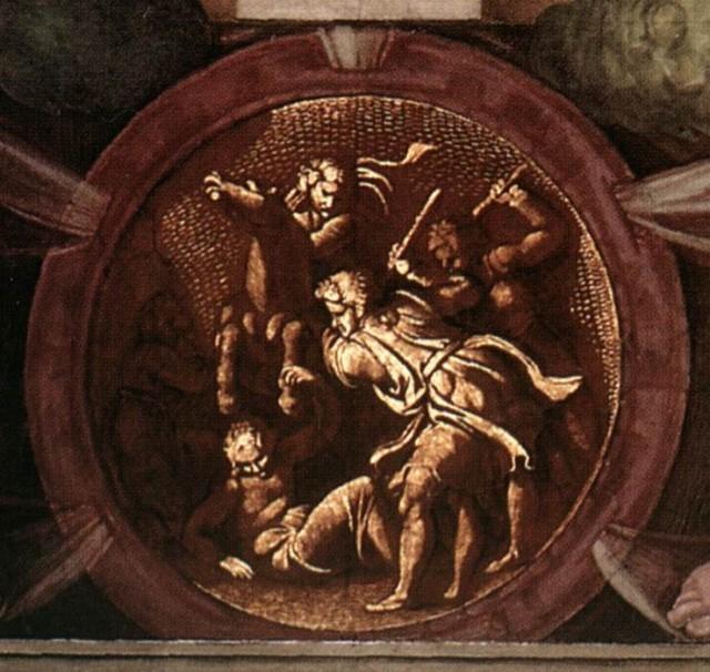 Muerte de Urías, en uno de los medallones de la Capilla Sixtina.