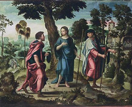 Autor: Pieter Coecke Van Aelst - Cristo y sus discípulos camino a Emaús.