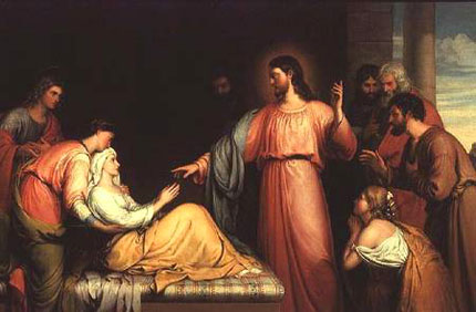 AGN35544 Christ healing the mother of Simon Peter by Bridges, John (fl.1818-1854) oil on canvas 121.9x152. Private Collection © Agnew's, London, UK English, out of copyright