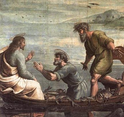 jesús y pedro en la barca