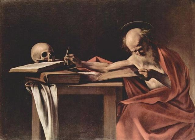 San Jerónimo escribiendo,Caravaggio, 1605.