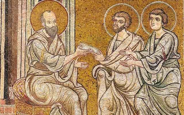 San Pablo, con Timoteo y Tito.
