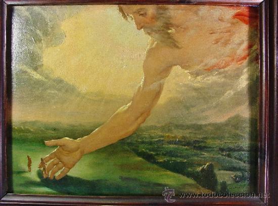 LA CREACIÓN DEL HOMBRE. ÓLEO SOBRE CARTÓN. FIRMADO Y TITULADO EN SU ÁNGULO INFERIOR DERECHO. AUTOR: DANIEL SABATER SALABERT (1888-1951). TITULADO, FIRMADO, LOCALIZADO Y FECHADO EN EL REVERSO. VALENCIA 1927.